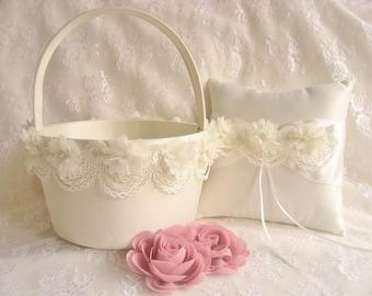 Very Large Flower Girl Basket and Ring Bearer Pillow Blush Cream or White  Huge Very Large Flower Girl Basket  Wedding