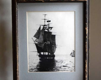 Vintage Framed Ghost Ship Print / Photograph ~ Ocean, Pirates, Ghostly, Nautical, Eclectic