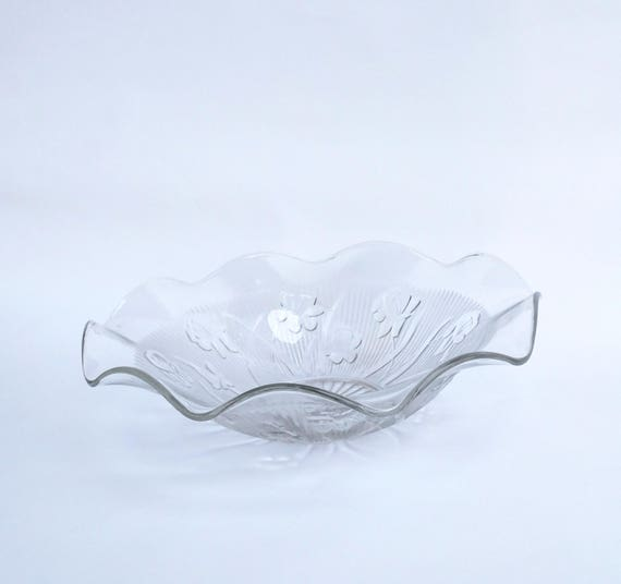 Vintage 1950's Jeanette Iris and Herringbone Large 11.5 inch Serving Bowl