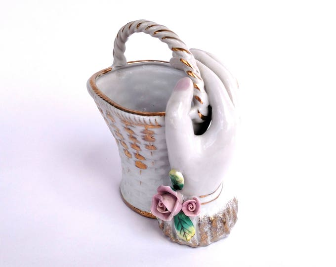 Vintage 1950's Ceramic Hand Holding Basket Made in Japan by Napco