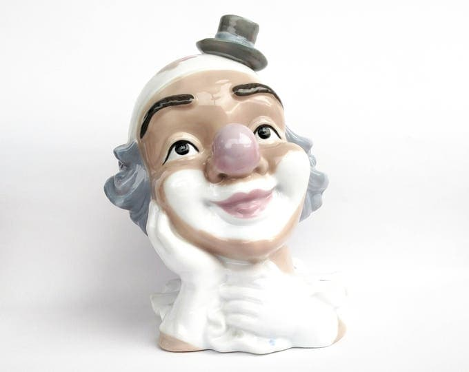 Vintage 1980's Ceramic Clown Bust