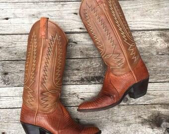 6 A | 1980's Dan Post Brown Lizard Western Cowboy Boots