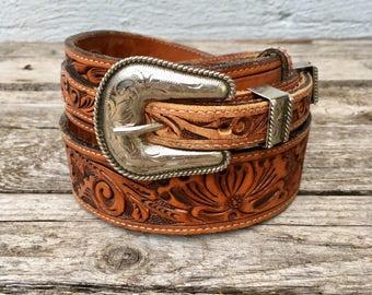 32 | M & F Brown Floral Tooled Leather Ranger Belt