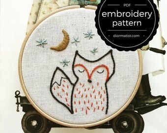 embroidery pattern // foxy night - instant digital download