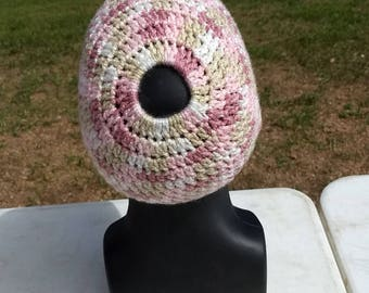 Simple Bun Beanie - Pink Camo - One of a Kind