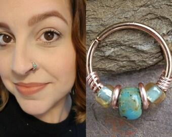 Rose Gold Beaded Turquoise Nose Hoop Nose Ring Cartilage Hoop Tragus Hoop