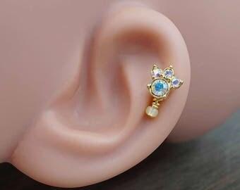 Aurora Borealis Paw Print Gold Stud Cartilage Earring Piercing 16g