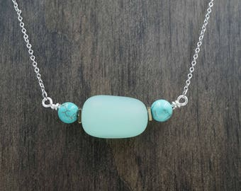 Turquoise and Aqua Blue Beach Glass Aromatherapy Necklace Essential Oil Diffuser Necklace