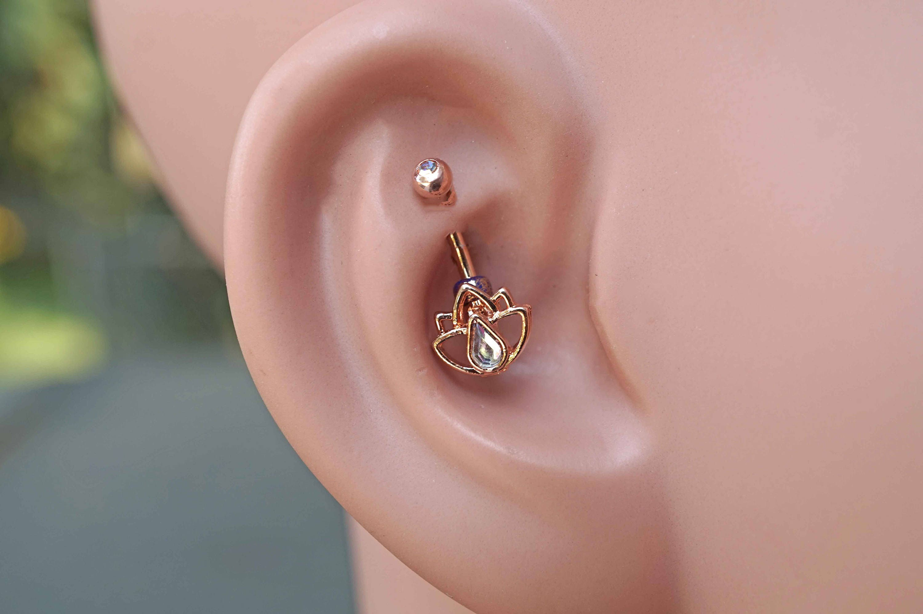 Lotus Flower 14kt Rose Gold Rook Earring Daith Piercing