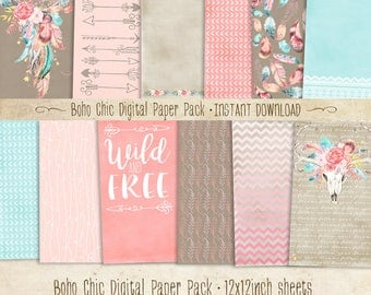 Boho Chic Paper Pack 12 Digital Sheets - INSTANT DOWNLOAD - Dreamcatcher, Bohemian Scrapbooking Card Making Birthday Party Decoration