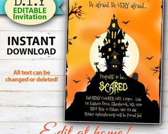 EDITABLE Halloween Invitation, Scary Castle and Black Cat, Haunted House Invitation, Easy edit at Home with Adobe Reader.