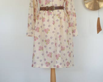 Pale Yellow Summer Dress Flowers and Stripes M L UK 12 / 14 US 8 / 10 EU 40 / 42 Belt not included