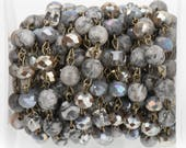 13 feet Gemstone Crystal Rosary Chain, Grey Picture Jasper, Crystal Cube and Rondelle Beads, bronze, 8mm & 6mm fch0720b