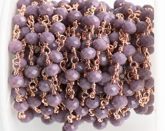 3 feet (1 yard) LAVENDER PURPLE Crystal Chain, Rondelle Rosary Bead Chain, bright copper double wrap wire, 6mm faceted glass beads fch0711a