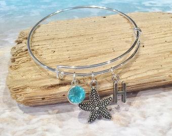 Starfish Bangle, Starfish Charm Bracelet, Personalized Bracelet, Expandable Bangle, Charm Bangle, Initial Bracelet, Birthstone Bracelet