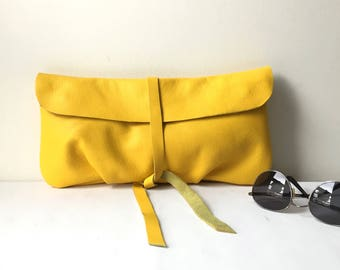 Yellow Leather Clutch, Women's Gift, Wife Gift, Girlfriend Gift, For Her, Leather Wallet Clutch, Evening Clutch Bag, Leather Handbag