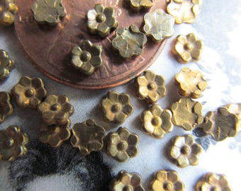 35 Vintage Patina Brass  Metal Flowers ...Super Small