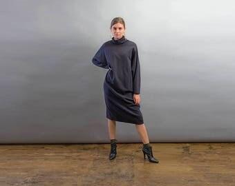 Oversized Minimal Sweater Dress / Turtle Neck Dress / Vintage 80s Sweater Dress Δ size: free size