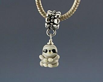 Sloth charm , sloth pendant , Sloth necklace , Glass lampwork big hole bead or BHB bead , charms bracelet ,european bracelet , jewelry