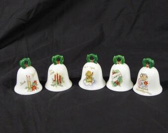 Lot of 5 Lenwile China Ardalt Japan We Say Merry Christmas Language Bells