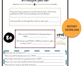 Customized Birthday Trivia Game