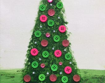 Acrylic tree with button, pearl and glitter accents