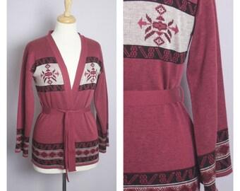Vintage 1970's Garnet Pink Belted Wrap Sweater S/M