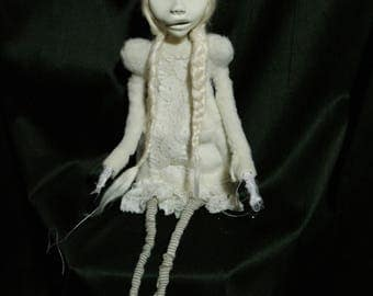 art doll, ooak,  white, ghost, tabula rasa, avantgarde