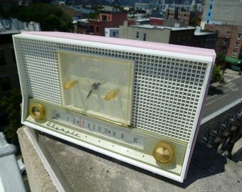 1956 OLYMPIC Pink and Gold Tube Radio & AM Clock Model 555 -Long Island, NY - Working!