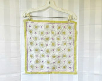 Vintage Spider Web Silk Scarf 1940s 1950s Yellow Ochre Gold Purple Ivory Semi Sheer Fine Sheen Rolled Edge Webs and Flowers