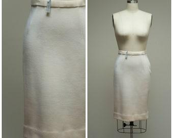 Vintage 60s Skirt • Zephyr • Cream Wool 1960s Skirt Size Medium