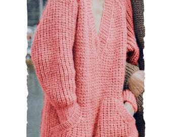 Instant Download PDF Knitting PATTERN to make an Oversize Fishermens Rib Womens Sweater Sloppy Joe Pouch Pocket 5 Sizes 34 to 42 inch Bust