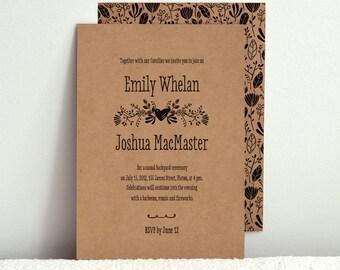 The Forest Folk / DIY Kraft Paper Wedding Invitation / Printable PDF Template