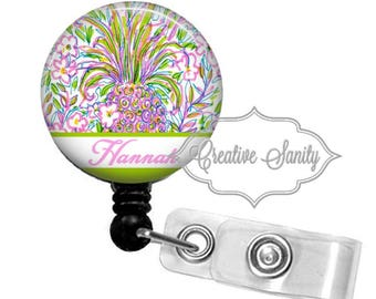 Retractable Badge Holder, Personalized Preppy Watercolor Pineapple, Choice of Badge Reel, Carabiner, Lanyard or Stethoscope ID Tag, Littmann