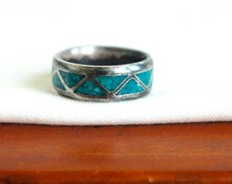 Turquoise Ring Band Size 9 .25 Vintage Unisex Jewelry Southwest Blue Chevron Triangle Design