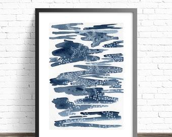 Abstract painting Constellations print // Indigo watercolor print // Modern art // Abstract watercolor print // Indigo wall art print