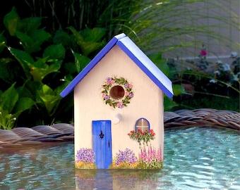 Rustic Blue Cottage Birdhouse