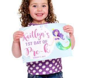 Back To School Sign - Mermaid Sign - First Day Of School Sign - Girls School Sign - First day of Kindergarten - First Day of Preschool