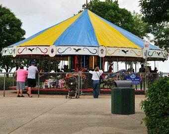 Amusement Park Ride Merry-Go-Round Photo, Happy Childhood Memories, Home Decor, Child's Room Decor, Primary Colors Nursery Decor, Carousel
