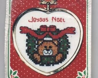 Joyous Noel Teddy Bear Wreath Heart-Shaped Ornament Counted Cross-Stitch Kit with Frame