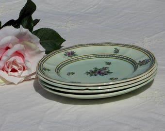 "Adams Calyx Ware Nanking FOUR 8"" Plate #2291 Old Date Mark, Vintage Nanking Adams English Ironstone FOUR 8"" Plates Turquoise Green Pink (ØK)"