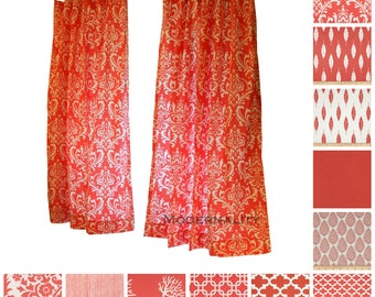Modern Curtains- Pair of Drapery Panels- Coral Curtains- Window Drapes- Coral Damask Curtains- Bedroom Curtains- Kitchen Cafe Curtains