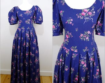 VINTAGE 1980s Laura Ashley Purple Pink Rose Bouquet Flowers Victorian Style Floral Maxi Dress UK 12 Fr 40 / Wedding / Country Chic