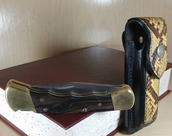 Vintage Buck 110 Pocket Knife with Snakeskin Sheath-1986