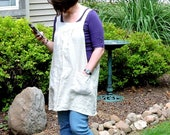 Washed Linen Pinafore Apron, Natural Linen Smock, no tie apron,  all day apron, made to order XS - Plus Sizes, 100% natural flax