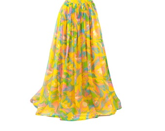 Vintage 1970's Sheer Yellow Chiffon Pastel Abstract High Waist A-line Maxi Hippie Skirt L