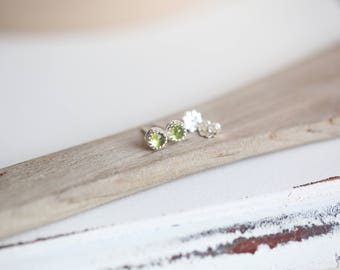 Peridot Earrings, Sterling Silver Stud Earrings,  August Birthstone Earrings, Birthday Gift for Her, Gemstone Stud Earrings, Green Peridot