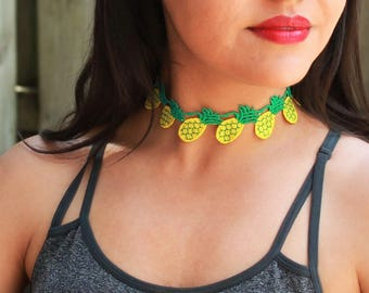 Pineapple lace Choker Necklace Handmade