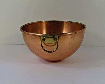 vintage copper bowl tarnished patina kitchen mixing brass hanger