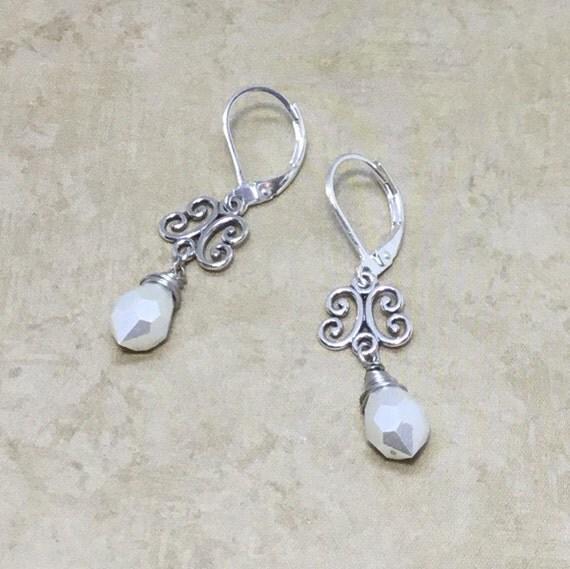 Sterling Silver & Pearls Earrings, Boho Jewelry, Sterling Silver, For Her, June Birthstone, Gifts Under 20 Dollars, Elegant Jewelry